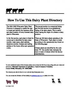 How To Use This Dairy Plant Directory