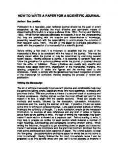 HOW TO WRITE A PAPER FOR A SCIENTIFIC JOURNAL