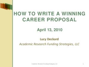 HOW TO WRITE A WINNING CAREER PROPOSAL