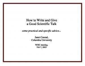 How to Write and Give a Good Scientific Talk