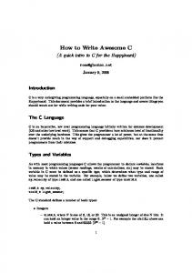 How to Write Awesome C