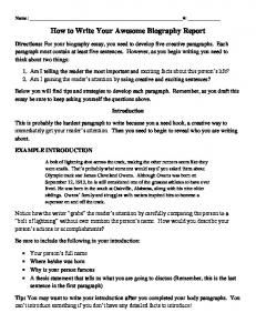 How to Write Your Awesome Biography Report