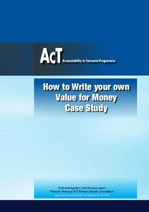 How to Write your own Value for Money Case Study