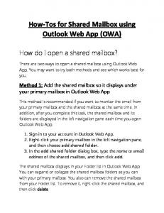How-Tos for Shared Mailbox using Outlook Web App (OWA)