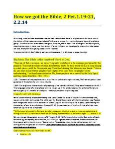 How we got the Bible, 2 Pet ,