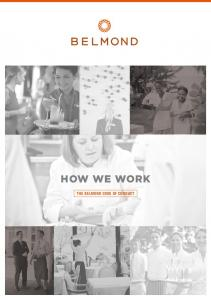 HOW WE WORK THE BELMOND CODE OF CONDUCT