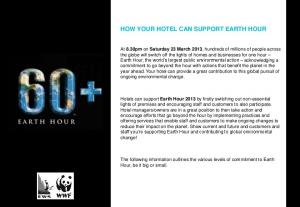 HOW YOUR HOTEL CAN SUPPORT EARTH HOUR