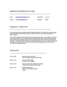 HOWARD KINGSTON: CV 2016
