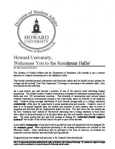 Howard University, Welcomes You to the Residence Halls!