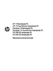 HP 14 Notebook PC HP 14 TouchSmart Notebook PC Compaq 14 Notebook PC Compaq 14 TouchSmart Notebook PC HP 240 G2 Notebook PC HP 245 G2 Notebook PC