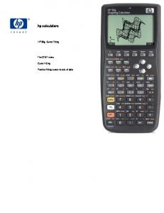hp calculators HP 50g Curve Fitting The STAT menu Curve Fitting Practice fitting curves to sets of data