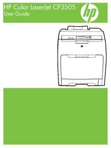 HP Color LaserJet CP3505 User Guide