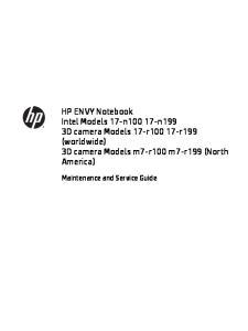 HP ENVY Notebook Intel Models 17-n n199 3D camera Models 17-r r199 (worldwide) 3D camera Models m7-r100 m7-r199 (North America)