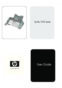 hp fax 1010 series User Guide
