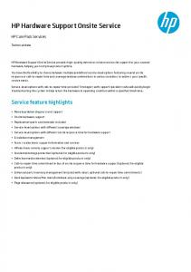 HP Hardware Support Onsite Service