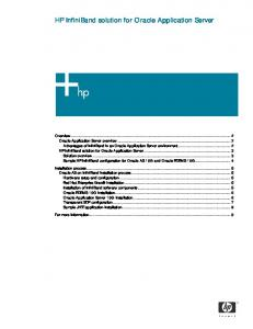 HP InfiniBand solution for Oracle Application Server