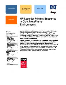 HP LaserJet Printers Supported in Citrix MetaFrame Environments