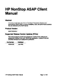 HP NonStop ASAP Client Manual