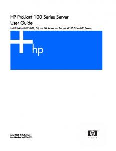HP ProLiant 100 Series Server User Guide