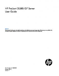 HP ProLiant DL585 G7 Server User Guide