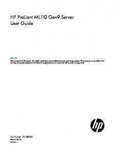 HP ProLiant ML110 Gen9 Server User Guide