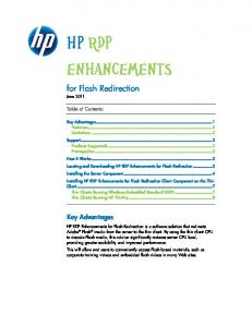 HP RDP Enhancements. for Flash Redirection. Key Advantages. Table of Contents: