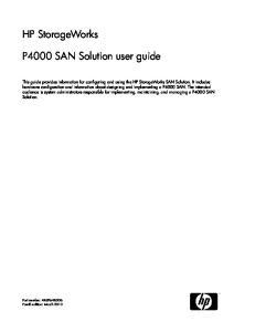 HP StorageWorks. P4000 SAN Solution user guide
