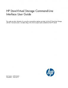 HP StoreVirtual Storage Command-Line Interface User Guide