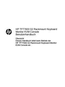 HP TFT7600 G2 Rackmount Keyboard Monitor KVM Console Benutzerhandbuch