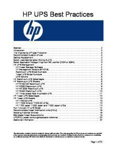 HP UPS Best Practices
