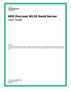 HPE ProLiant ML30 Gen9 Server User Guide