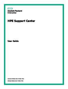 HPE Support Center. User Guide