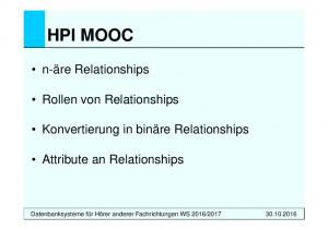 HPI MOOC. n-äre Relationships. Rollen von Relationships. Konvertierung in binäre Relationships. Attribute an Relationships