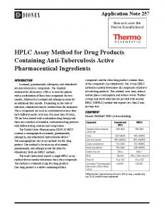 HPLC Assay Method for Drug Products Containing Anti-Tuberculosis Active Pharmaceutical Ingredients