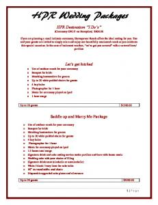 HPR Wedding Packages