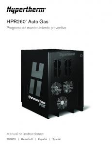 HPR260 Auto Gas. Programa de mantenimiento preventivo. Manual de instrucciones