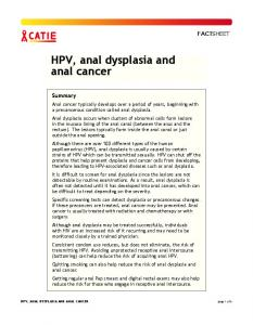 HPV, anal dysplasia and anal cancer