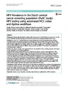 HPV Prevalence in the Dutch cervical cancer screening population (DuSC study): HPV testing using automated HC2, cobas and Aptima workflows