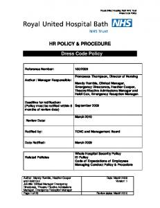 HR POLICY & PROCEDURE. Dress Code Policy