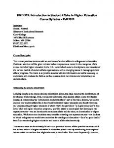 HRD 555: Introduction to Student Affairs in Higher Education Course Syllabus - Fall 2012