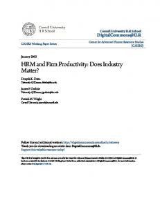 HRM and Firm Productivity: Does Industry Matter?