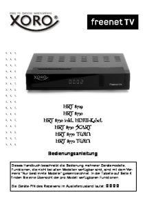 HRT 8729 HRT 8730 HRT 8730 inkl. HDMI-Kabel HRT 8730 SCART HRT 8770 TWIN HRT 8772 TWIN. Bedienungsanleitung