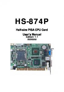 HS-874P Half-size PISA CPU Card User s Manual