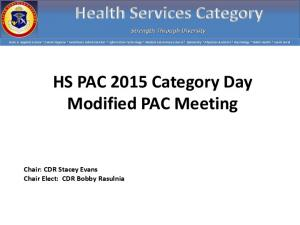 HS PAC 2015 Category Day Modified PAC Meeting