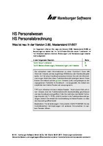 HS Personalwesen HS Personalabrechnung