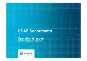 HSAF Sacramento Operational issues