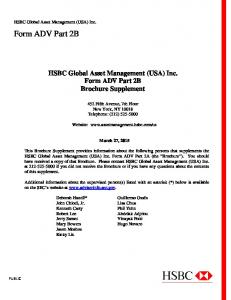 HSBC Global Asset Management (USA) Inc. Form ADV Part 2B Brochure Supplement. 452 Fifth Avenue, 7th Floor New York, NY Telephone: (212)