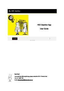 HSE Gearbox App. User Guide. Need Help?