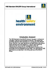 HSE Standard BAUER Group International Introduction, foreword