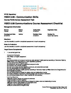 HSED 5.09 Communications Course Assessment Checklist